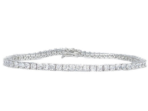 3mm White Gold Tiffany Tennis Bracelet 18in