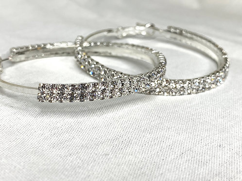 """Chole"" Hoop Earrings- Silver"