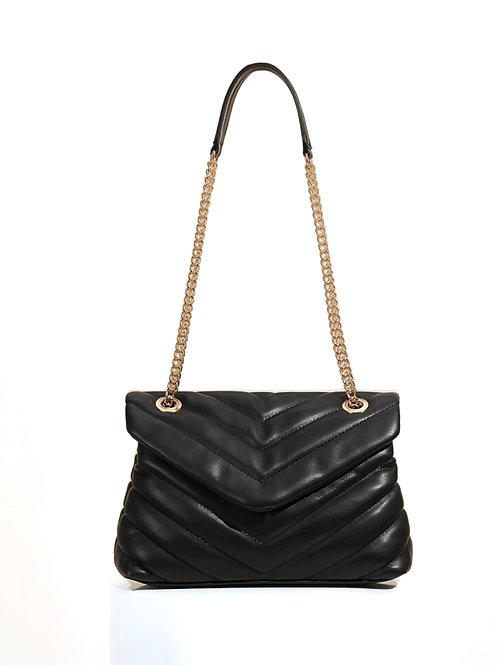 "Black ""Camille"" Quilted Shoulder Bag"