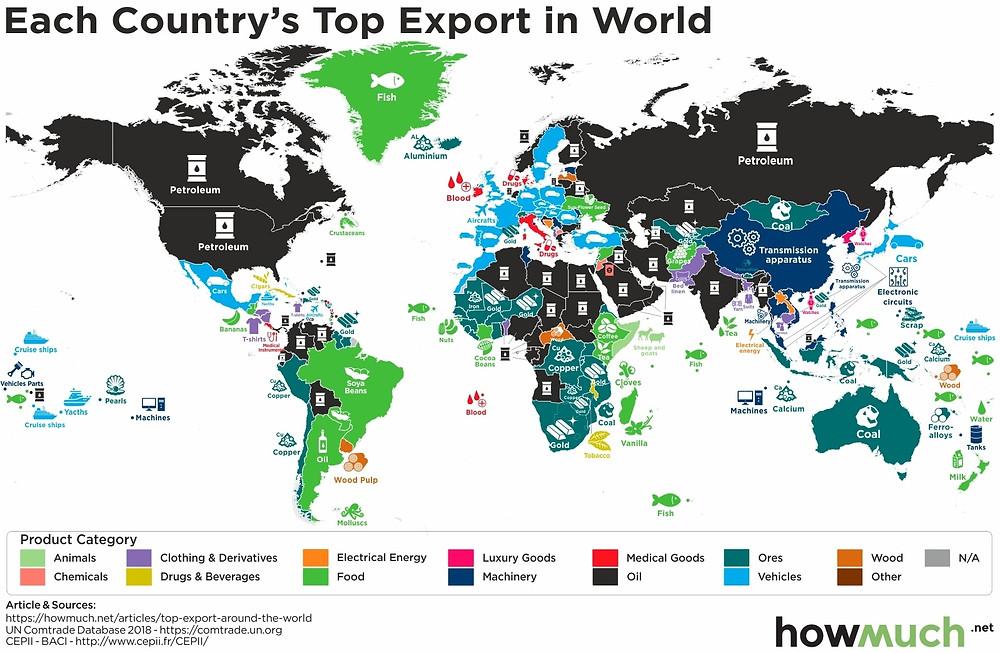 Найбільша експортна галузь країн на карті світу