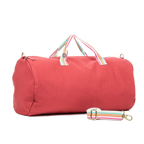Polochon Travel - Framboise - Rayures Multi Couleurs - PERSONNALISABLE