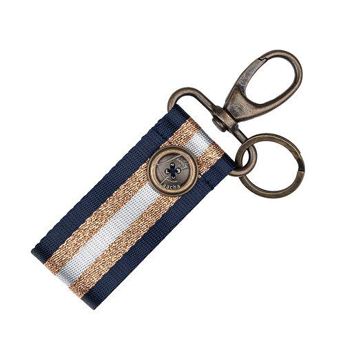Porte-Clés MINI - Rayures - Bleu Marine / Doré / Blanc