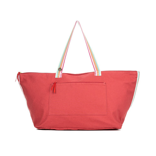 Cabas Travel - Framboise - Rayures Multi Couleurs - PERSONNALISABLE