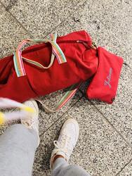 Raspberry Slim Duffel Bag and Pencil Case