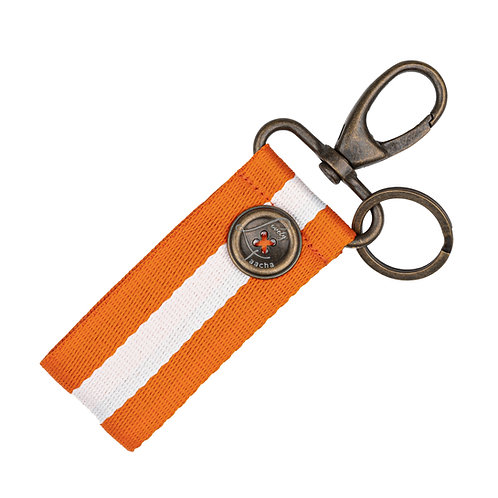 Porte-Clés MINI - Rayures - Orange / Blanc