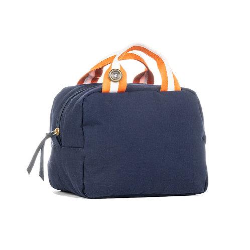 Lunch Bag isotherme - Bleu Marine - Orange / Blanc