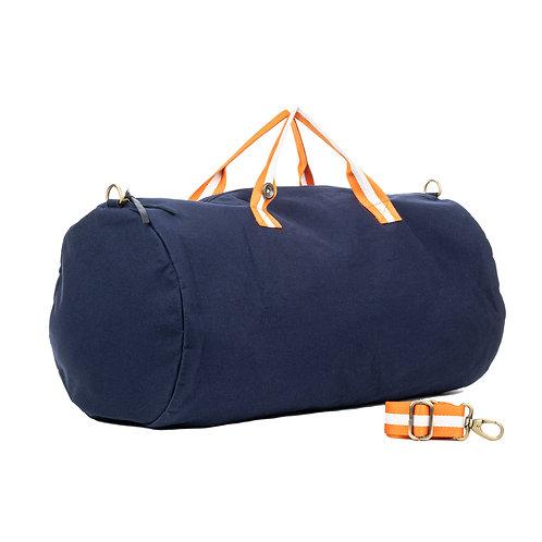 Polochon Travel - Bleu Marine - Orange / Blanc - PERSONNALISABLE