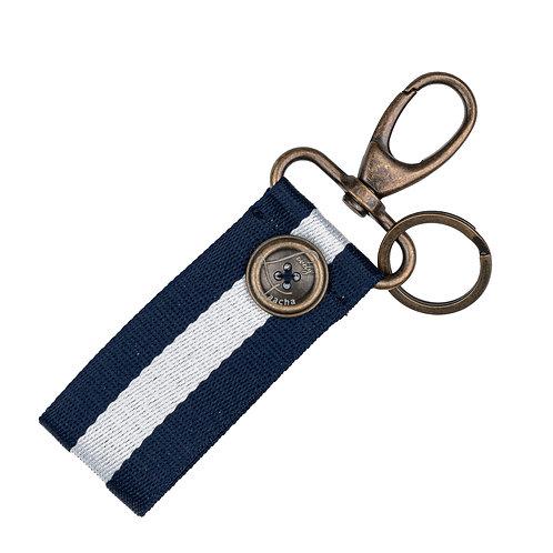 Porte-Clés MINI - Rayures - Bleu Marine / Blanc