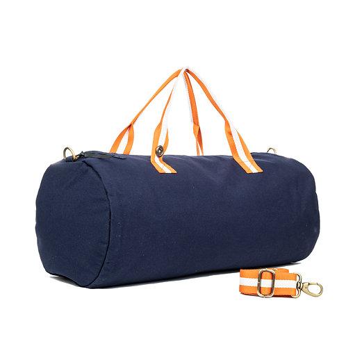 Polochon - Bleu Marine - Orange / Blanc - PERSONNALISABLE