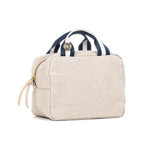 Lunch Bag isotherme - Lin Naturel- Bleu Marine / Blanc