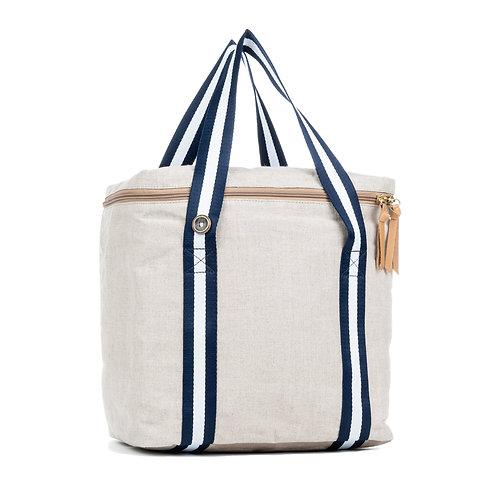 Cool Bag isotherme - Lin Naturel- Bleu Marine / Blanc