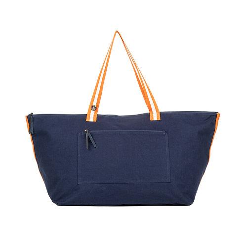 Cabas Travel - Bleu Marine - Orange/Blanc - PERSONNALISABLE