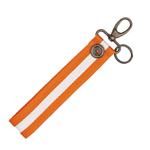Porte-Clés BIG - Rayures - Orange / Blanc - PERSONNALISABLE