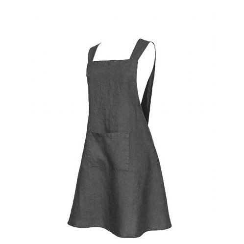 Tablier ANTHRACITE - 100% Lin - PERSONNALISABLE