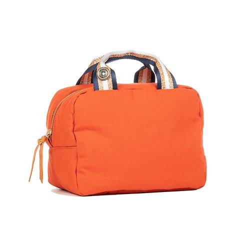Lunch Bag isotherme - Orange - Bleu Marine / Doré / Blanc