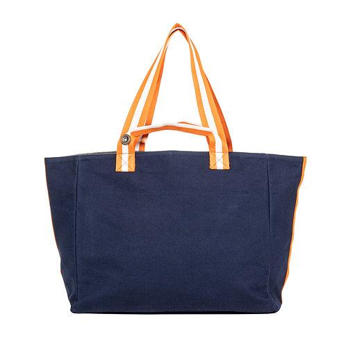 Cabas  - Bleu Marine - Orange/Blanc - PERSONNALISABLE