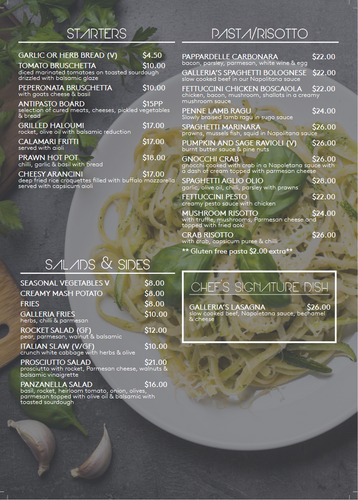 STARTERS / PASTAS / RISOTTO / SALADS & SIDES / CHEF'S SIGNATURE DISH