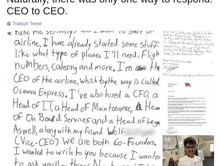 Futuro CEO de 10 anos tem sua carta respondida por empresa rival mais antiga da Austrália