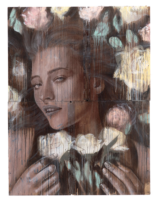 Rone-2014-'Bed of Roses'-Mixed Media on
