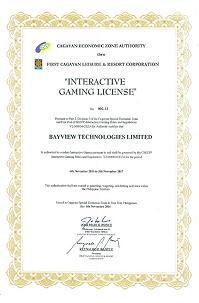 ジパングカジノのライセンス画像