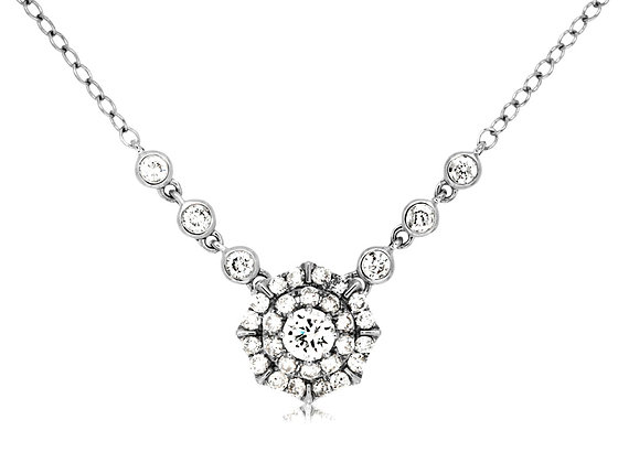 Brilliant Diamond Cluster Necklace