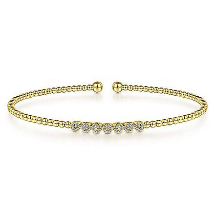 Bujukan Bead Cuff Bracelet with Cluster Diamond Stations
