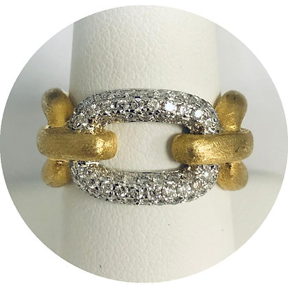 14kt Yellow and White Gold and Diamond Link Design Ring