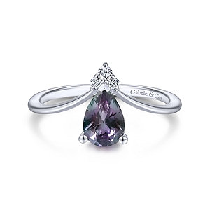 14K White Gold Teardrop Alexandrite and Diamond Triangle Ring