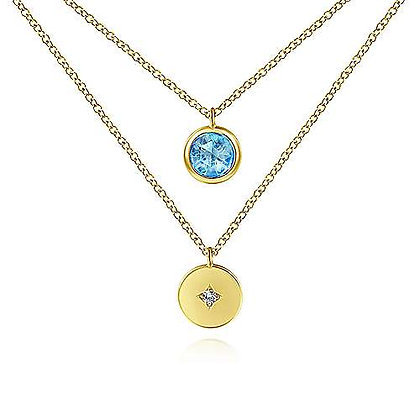 Round Bezel Set Swiss Blue Topaz and Diamond Disc Necklace