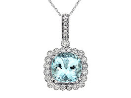 Cushion Aquamarine and Diamond Halo Pendant