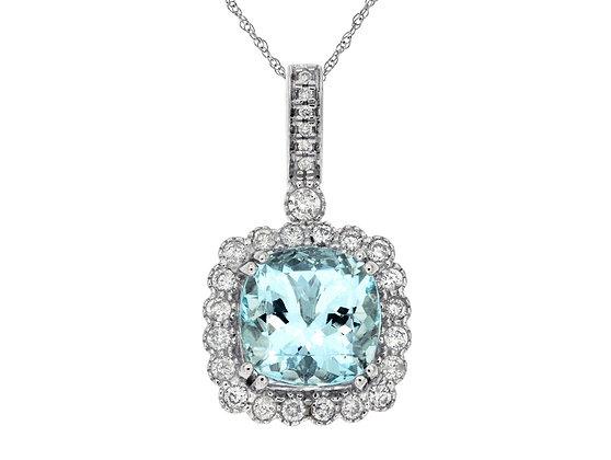 Cushion Aquamarine and Diamond Halo Pendant