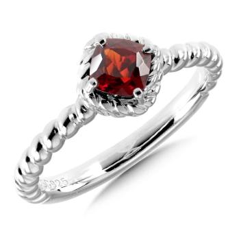 Garnet Sterling Silver Stacking Ring