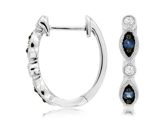 Blue Sapphire and Diamond Hoop Earrings