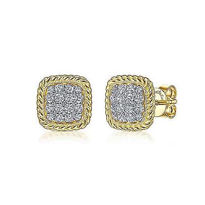 Cushion Shape Pavé Diamond Stud Earrings