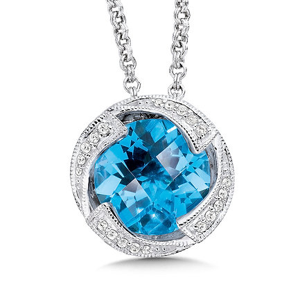 Blue Topaz and Diamond Sterling Silver Necklace