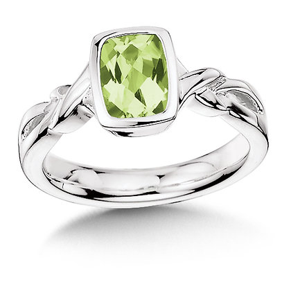 Twisted Design Sterling Silver Peridot Ring
