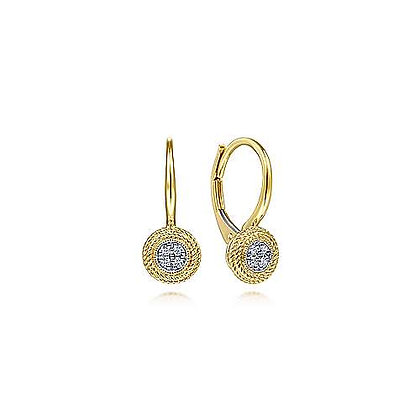 Round Twisted Rope Frame Diamond Earrings