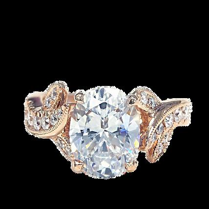 Engagement Ring Diamond Oval Rose Gold Wedding Ring