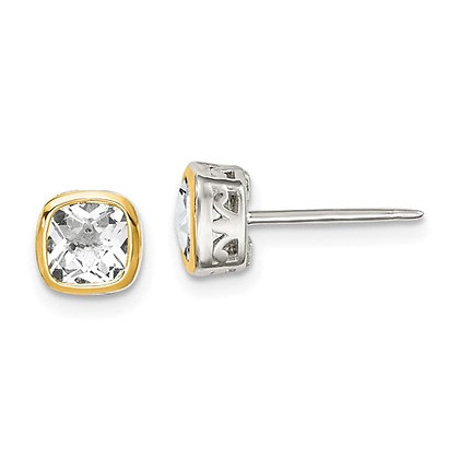 Sterling Silver and 14kt Yellow Gold Accent White Topaz Stud Earrings