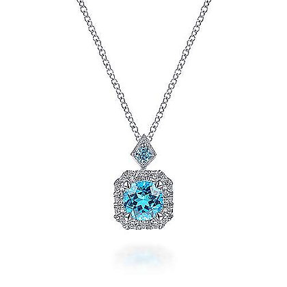 Round Swiss Blue Topaz Diamond Halo Pendant Necklace