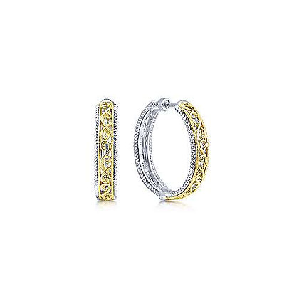 Sterling Silver and 18kt Yellow Gold Round Classic Diamond Hoop Earrings