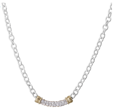 Vahan Diamond Cluster Wide Curved Bar Necklace