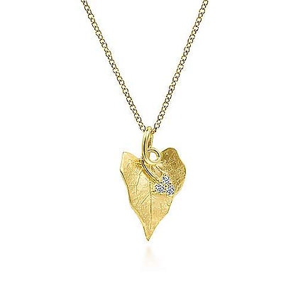 Diamond Leaf Pendant Necklace