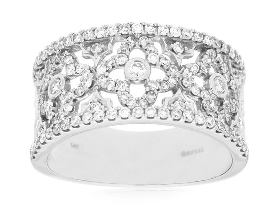 Floral Design Wide Diamond Band