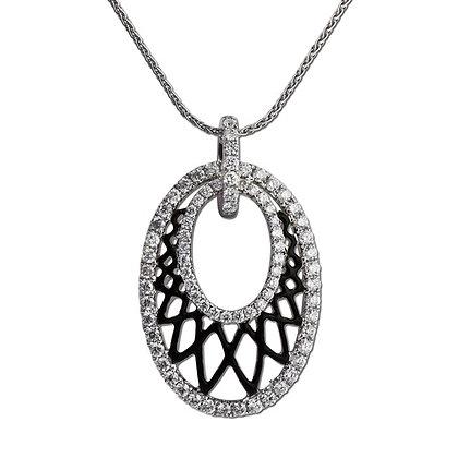 14kt Oval Black Lace Diamond Pendant