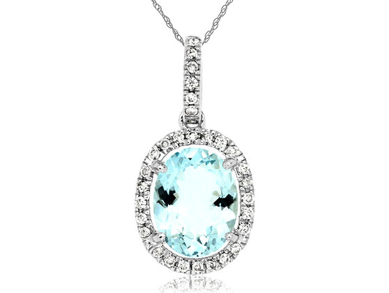 Oval Aquamarine and Diamond Halo Necklace