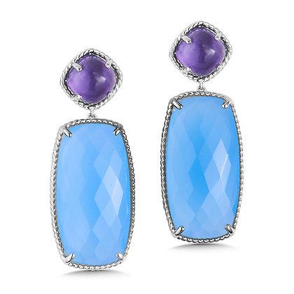 Amethyst and Chalcedony Blue Topaz Drop Earrings