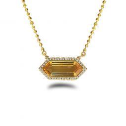 Hexagon Citrine and Diamond Necklace
