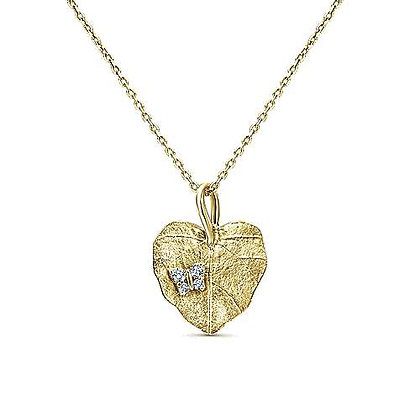 Yellow Gold Diamond Leaf Pendant Necklace