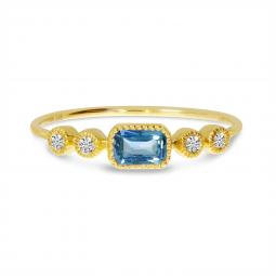 14K Yellow Gold Octagon Blue Topaz and Diamond Dainty Semi Precious Ring